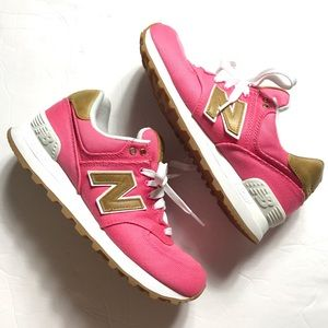 New Balance 574 Pink Canvas Brown Leather